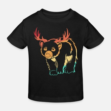 Retro Bear Brown Bear Antler Deer Vintage Retro - Kids' Organic T-Shirt
