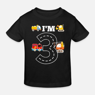 Age I'm 3 boys birthday design with fire department - Kids' Organic T-Shirt