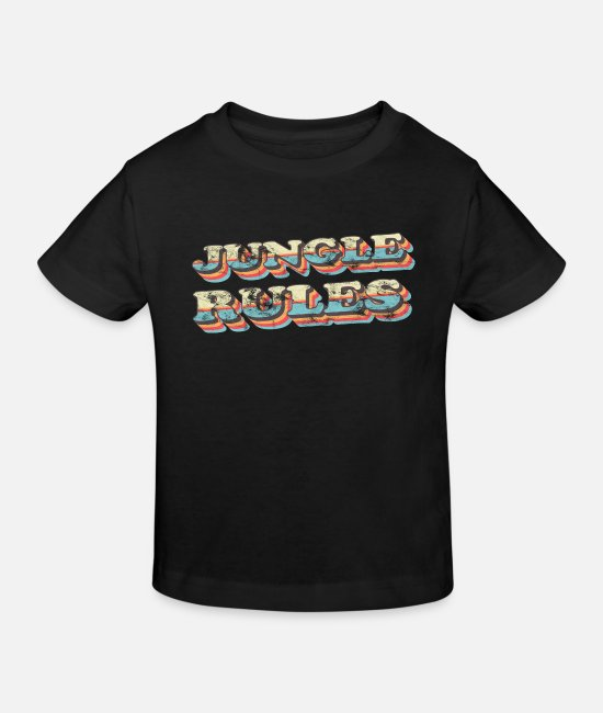 Vintage Baby Clothes - Jungle Rules Jungle Vintage - Kids' Organic T-Shirt black
