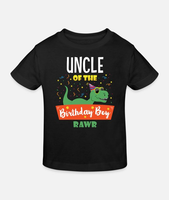 Birthday Baby Clothes - Uncle Dinosaur Hilarious Birthday Boy Uncle Gifts - Kids' Organic T-Shirt black