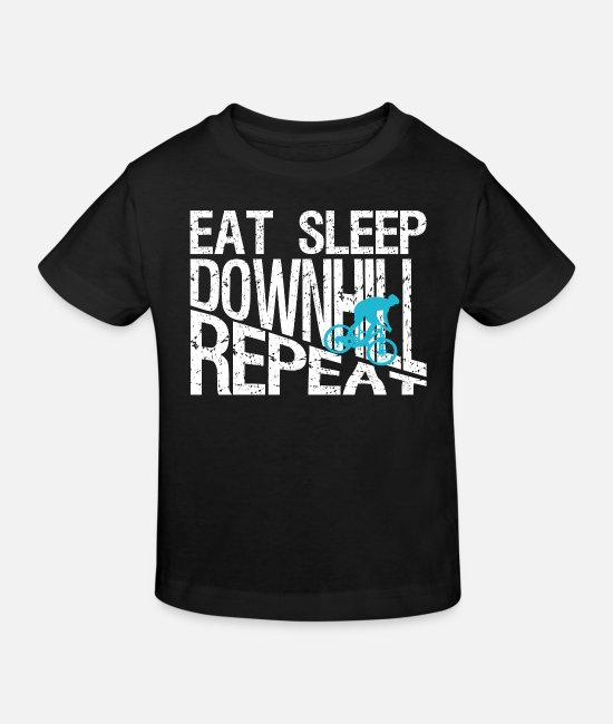 Cycling T-Shirts - Eat Sleep Downhill Repeat T-shirt - Kids' Organic T-Shirt black