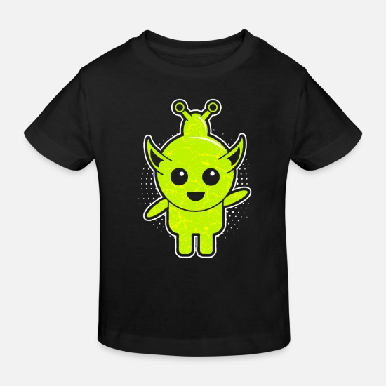 Birthday Baby Clothes - Sweet green alien male - Kids' Organic T-Shirt black