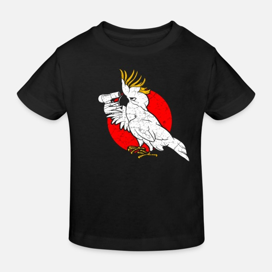 Birthday Baby Clothes - Funny cockatoo parrot hairstyle - Kids' Organic T-Shirt black