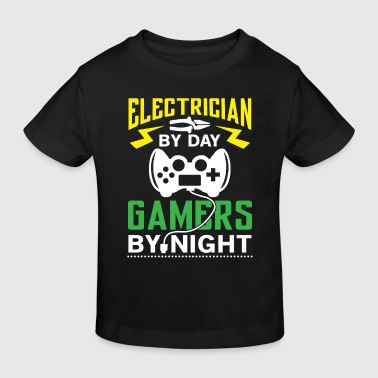 Electrician by Day Gamers by Night - arcade player - Kinderen Bio-T-shirt