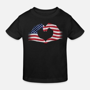 United Hands shaped to heart USA flag - Kids' Organic T-Shirt