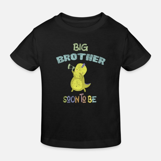 Brother Baby Clothes - Pregnancy Announcement Big Brother DinoDab - Kids' Organic T-Shirt black