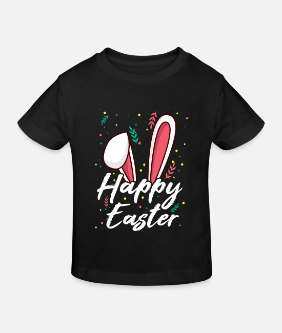 Easter Baby Clothes - Happy Easter bunny floppy ears gift - Kids' Organic T-Shirt black