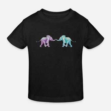 Trunk Two elephants - trunk to trunk (purple,turquoise) - Kids' Organic T-Shirt