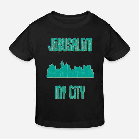 Country Baby Clothes - Jerusalem MY CITY - Kids' Organic T-Shirt black
