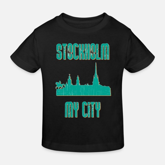 Stockholm Baby Clothes - STOCKHOLM MY CITY - Kids' Organic T-Shirt black