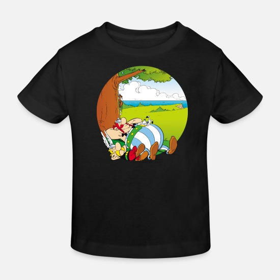 Officialbrands Baby Clothes - Asterix & Obelix Dogmatix Relaxing - Kids' Organic T-Shirt black