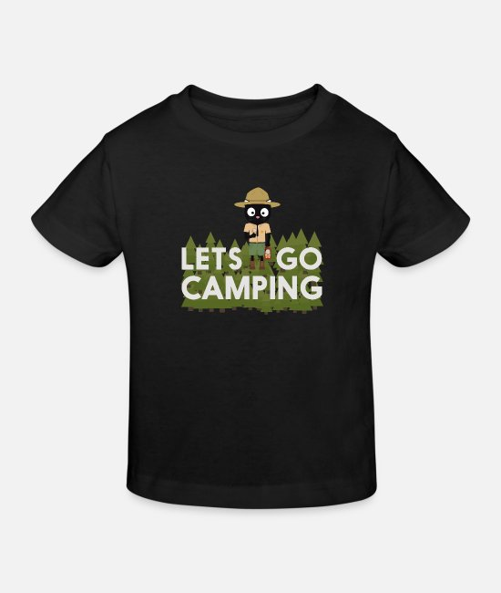 Nature Baby Clothes - Camping cat in the Park Ranger uniform - Kids' Organic T-Shirt black