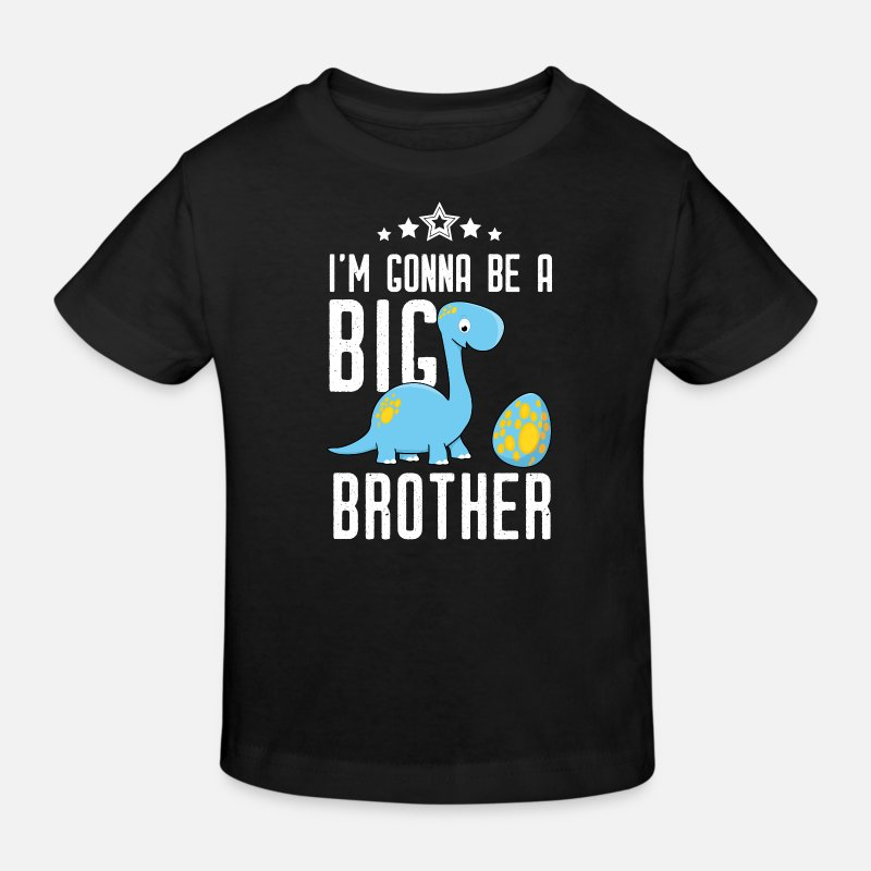Brother Baby Clothes - Gonna be big brother-I will big brother Dino - Kids' Organic T-Shirt black
