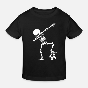 Fussball Skelett Dab dabbing skeleton football (soccer) - Kinder Bio T-Shirt