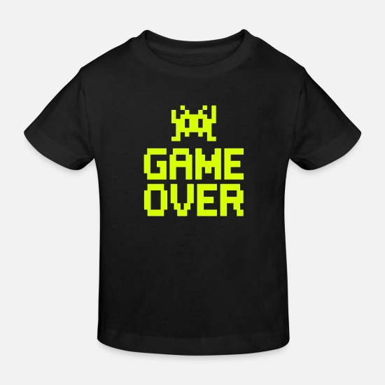 Geek Baby Clothes - game over with sprite - Kids' Organic T-Shirt black