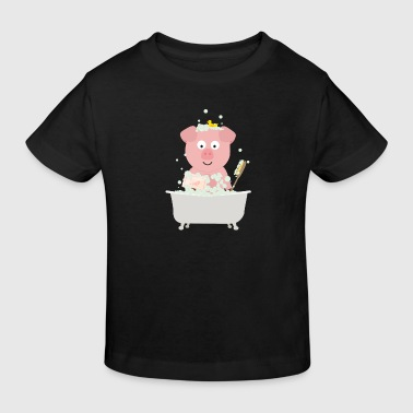 Pig in bath with bubbles - Kids' Organic T-shirt