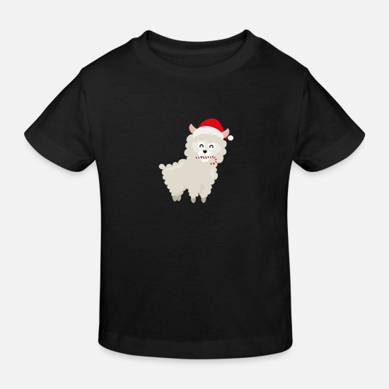 Skies Baby Clothes - Alpaca Santa with Candy Cane - Kids' Organic T-Shirt black
