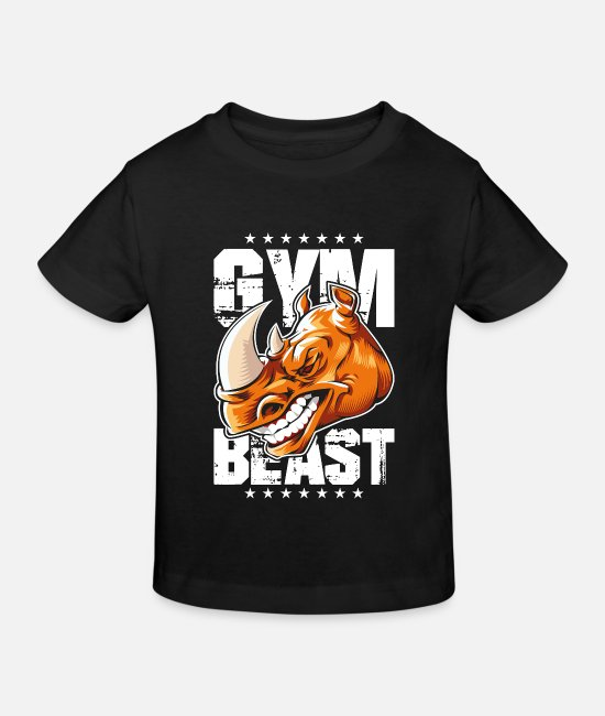 Fighter T-Shirts - Rhinoceros gym beast - Kids' Organic T-Shirt black