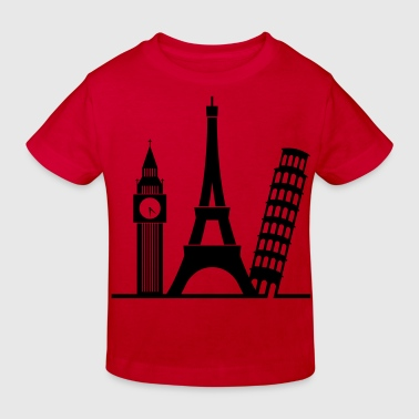 Europe / London / Paris / Pisa - Kids' Organic T-Shirt