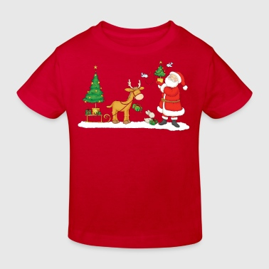 Santa Claus with Reindeer and Christmas Tree - Kids' Organic T-shirt