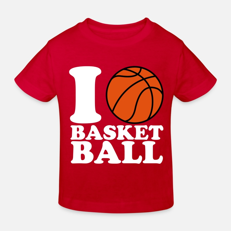 Basketball T-Shirts - I Love Basketball V2 - Kinderen bio T-shirt rood