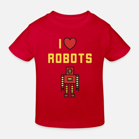 Love Baby Clothes - I Love Robots - Retro Robot Vintage Toys - Kids' Organic T-Shirt red