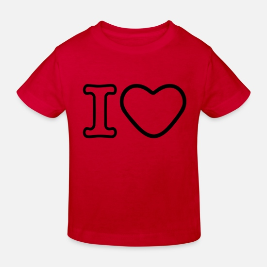 Heart Baby Clothes - I Heart - Kids' Organic T-Shirt red