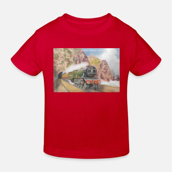 Railway Baby Clothes - cornish riviera - Kids' Organic T-Shirt red