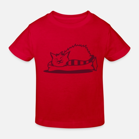 Baby Baby Clothes - A cat sleeps on a pillow - Kids' Organic T-Shirt red
