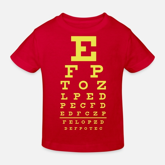 Funny Baby Clothes - eye chart - Kids' Organic T-Shirt red