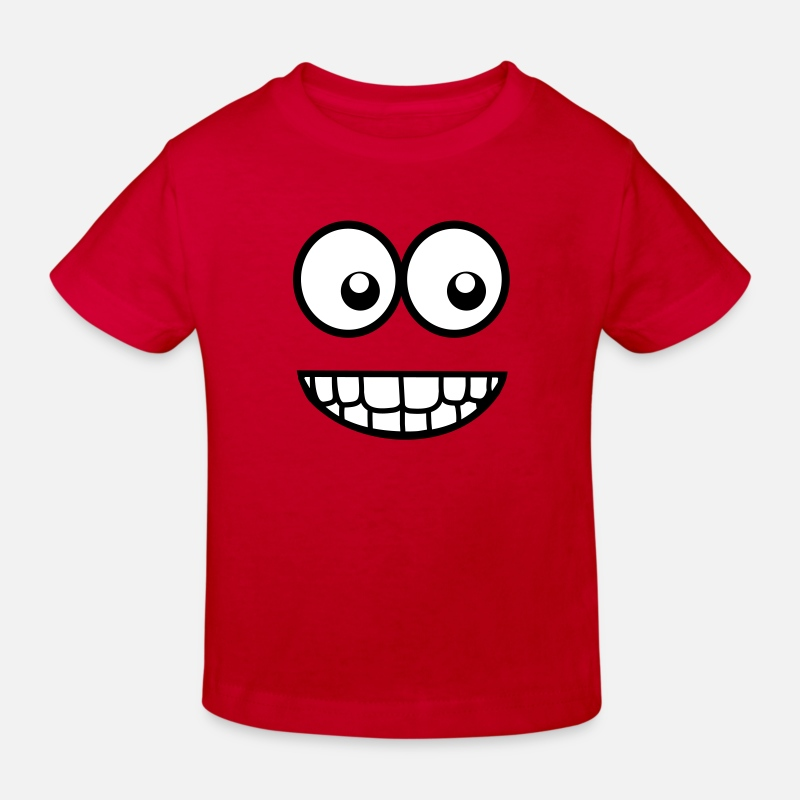 Comics T-Shirts - Funny Comic Face (Crazy & Cool) - Smiley - Kids' Organic T-Shirt red