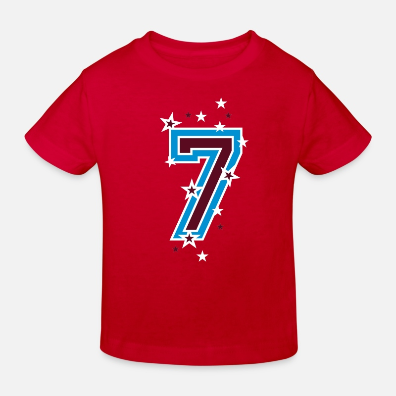 7 T-Shirts - The number seven 7 with  stars  - Kids' Organic T-Shirt red