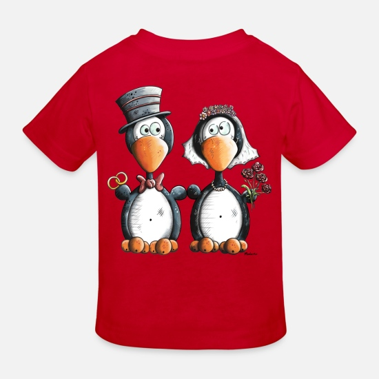 Wedding Baby Clothes - Penguin Wedding - Kids' Organic T-Shirt red