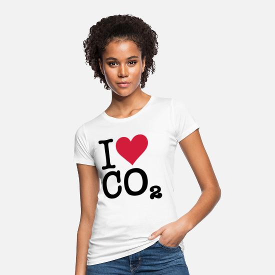 Co2 T-Shirts - I Love CO2 - Women's Organic T-Shirt white