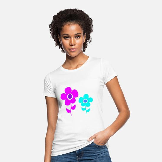 Garden T-Shirts - Colorful flower power flowers - Women's Organic T-Shirt white