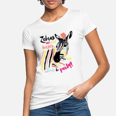 Erde Animal Planet Buntes Zebra Ready To Party - Frauen Bio T-Shirt