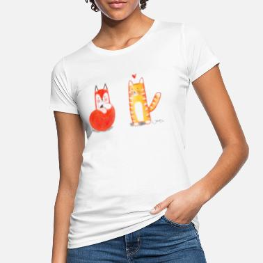 Signora Mr. Cat and Mrs. Fox - Falling in Love - Women's Organic T-Shirt