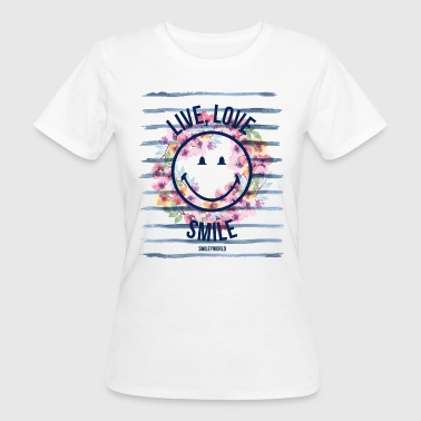 Smiley World Live Love Smile Aquarelle Quote - T-shirt ecologica da donna
