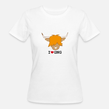 I Love Gingers Highland cow ginger head I love ginger coo design - Women's Organic T-Shirt