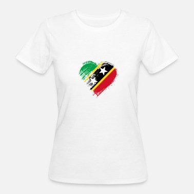 San Cristóbal Y Nieves Grungy I Love St. Kitts and Nevis bandera del corazón - Camiseta ecológica mujer