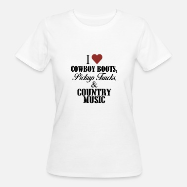 Countrymusic Cowboylaarzen, pick-up trucks, countrymuziek - Vrouwen Bio-T-shirt