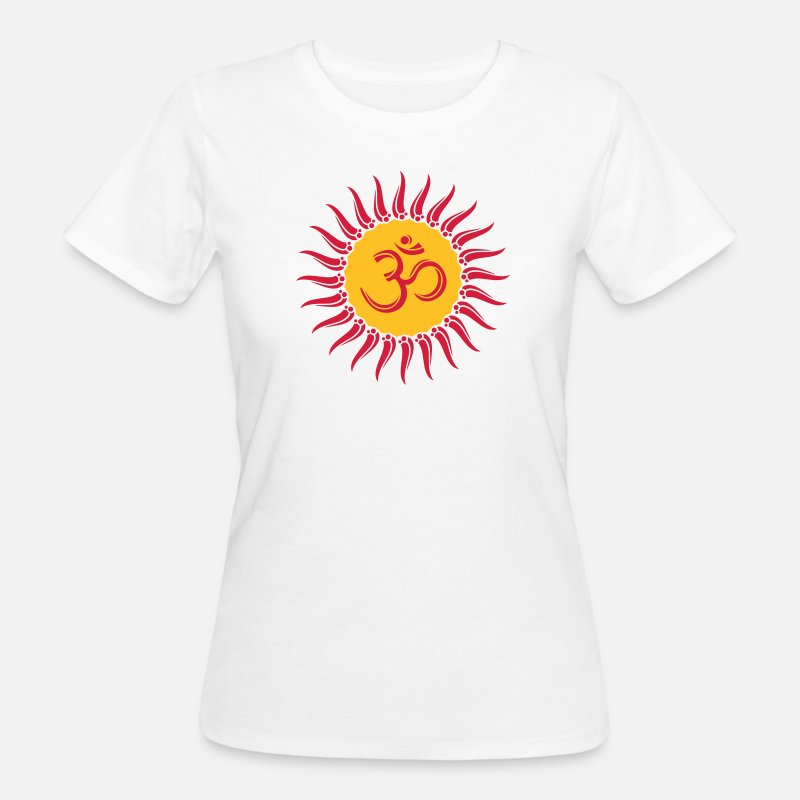 Yoga T-Shirts - Om sun, Buddhism, yoga, spiritual, meditation - Women's Organic T-Shirt white