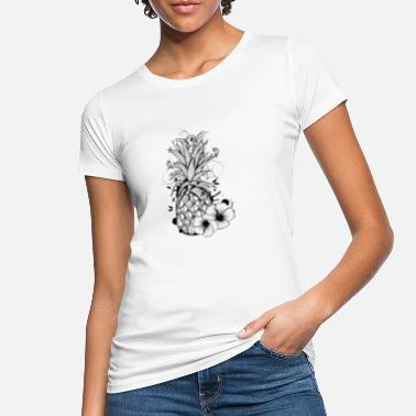 Fruit Pineapple with hibiscus blossom - Women's Organic T-Shirt