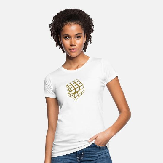 Wife T-Shirts - Rubik's Cube Golden Outline - Women's Organic T-Shirt white