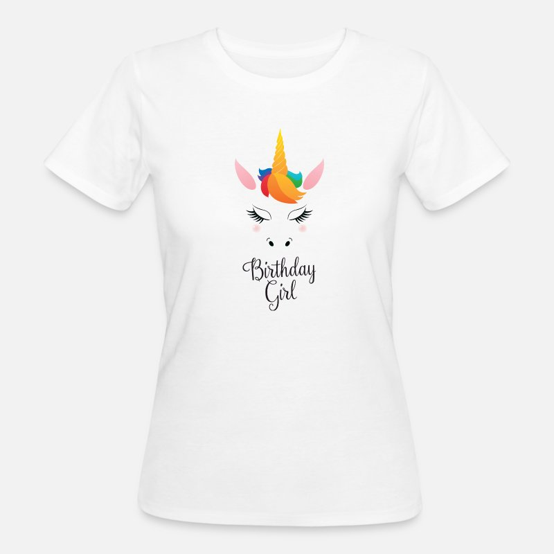Birthday T-Shirts - Birthday Girl - Cute Unicorn - Vrouwen bio T-shirt wit