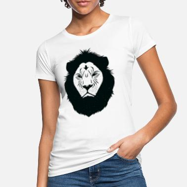 Zoodyr Lion Head Lion Star Black White Tattoo Gift - Økologisk T-skjorte for kvinner