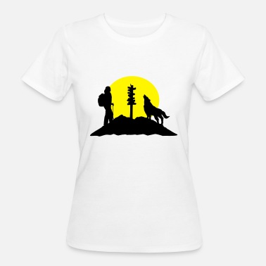 Take Hiking woman, wolf and mountains - Ekologisk T-shirt dam