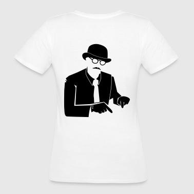 Bowler hat man pointing down look here - Women's Organic T-shirt