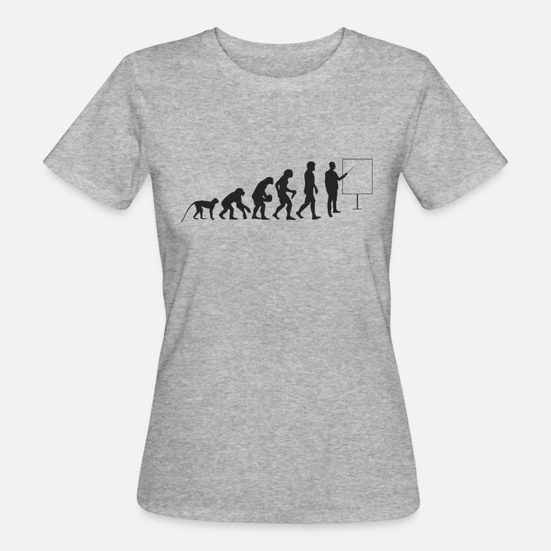 Academy T-Shirts - Teacher evolution - Women's Organic T-Shirt heather grey