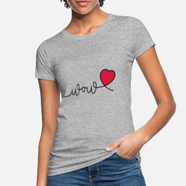 Wow or wow. Valentine's Day slogan with hearts - Women's Organic T-Shirt